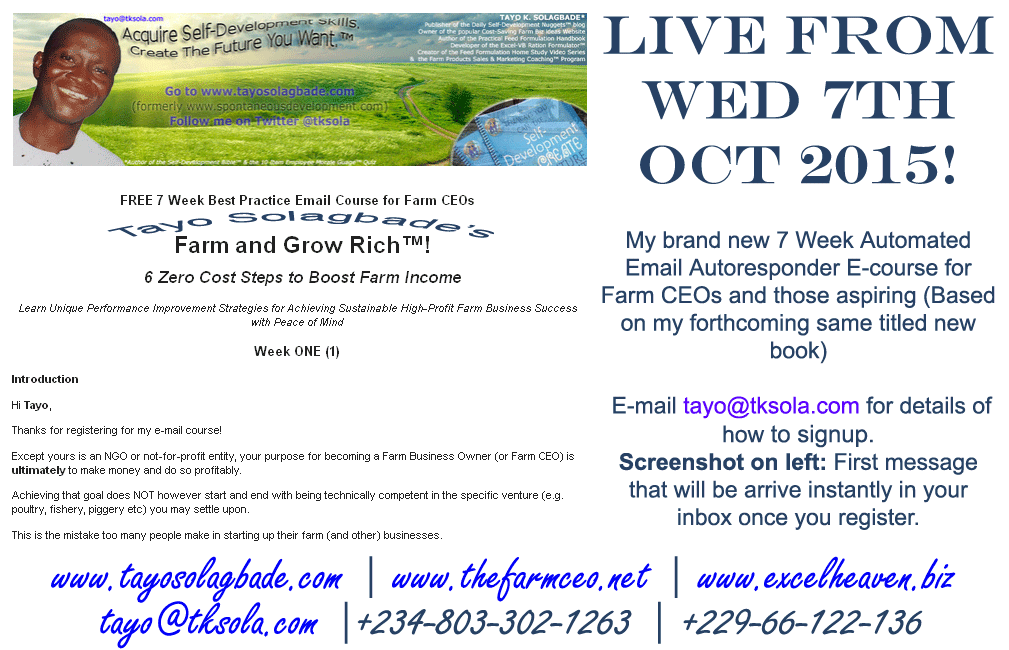 Farm and Grow Rich - Tayo Solagbade's 7 Week FREE Email Auto-responder Course for Farm CEOs and Those Aspiring